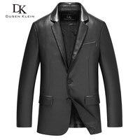 Mens sheepskin coats leather Suit clothing Black Dusen Klein Brand new 2017 genuine leather Slim/Business male jacket 71C17017