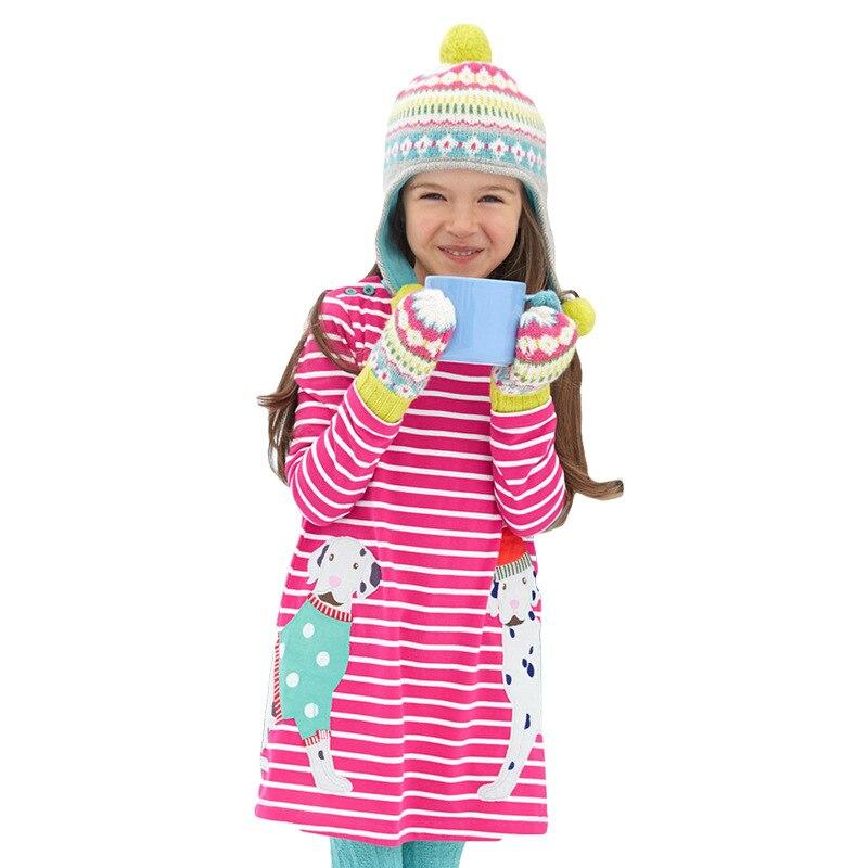 2016 Autumn Kids Clothes Girls Cartoon Dress Applique Cat Embroidery Cotton Girls Long Sleeve Children Dress 2-7years