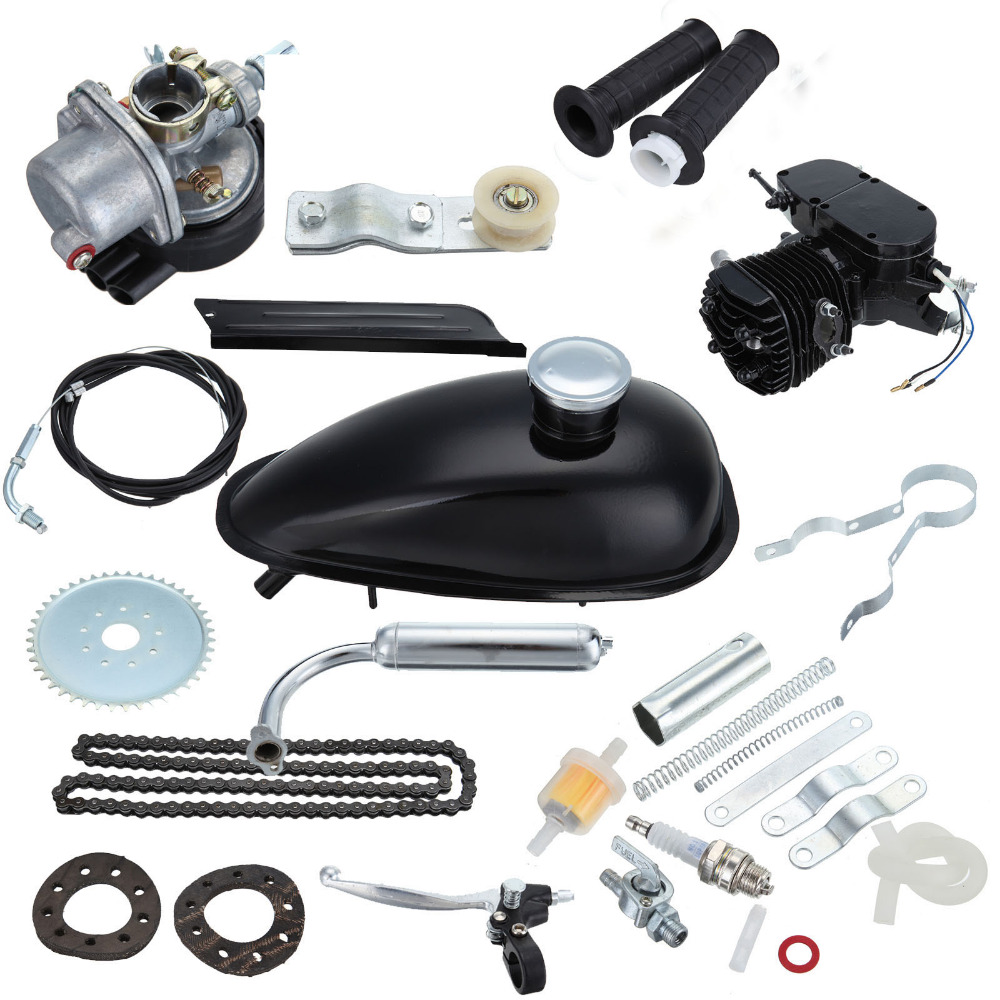 Black 50cc 2 Stroke Bike Bicycle Gas Motorized Engine Motor Kit CDI Air Cooling For 26 28Bike