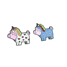 Creative cartoon Pig who wants to be a unicorn Womens brooches Enamel pins Color brooch For women Coat collar badge jewelry