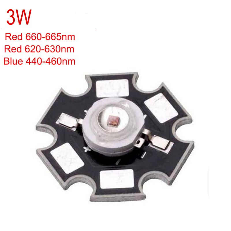 10pcs/lot 3W 45mil Chip Deep Red 660~665nm 620-630nm Royal Blue 440-<font><b>460nm</b></font> <font><b>LED</b></font> bead diodes plant grow Light Lamp With 20mm base image