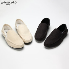 WHOHOLL Men Loafers Men Casual flat Shoes 2019 Spring Summer Light Canvas Youth Shoes Men Breathable Fashion Flat Footwear