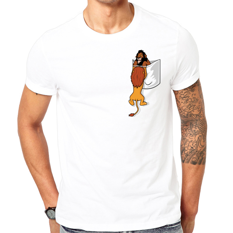 2019 camiseta de bolsillo para hombre, camisetas el rey león, cicatriz, traiciones, Mufasa, larga vida al rey, traumas infantiles