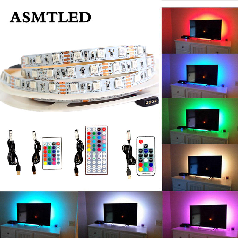 RGB USB <font><b>LED</b></font> Strip Backlight lighting <font><b>5V</b></font> 1M 2M 3M 4M 5M <font><b>5050</b></font> SMD Decor lamp For HDTV Desktop Flat Screen LCD TV PC Bias lighting image