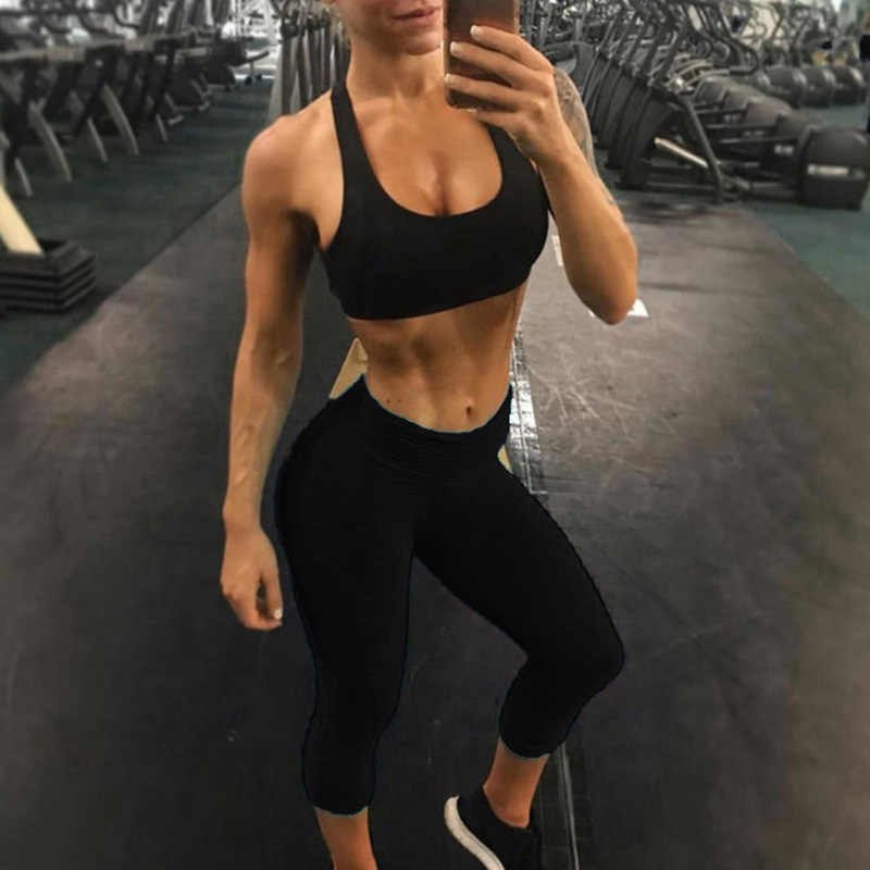 New Solid Color Fitness Breathable High Waist Women Sportswear Capri Pants Workout Elastic Force Skinny Push Up Ladies Leggings