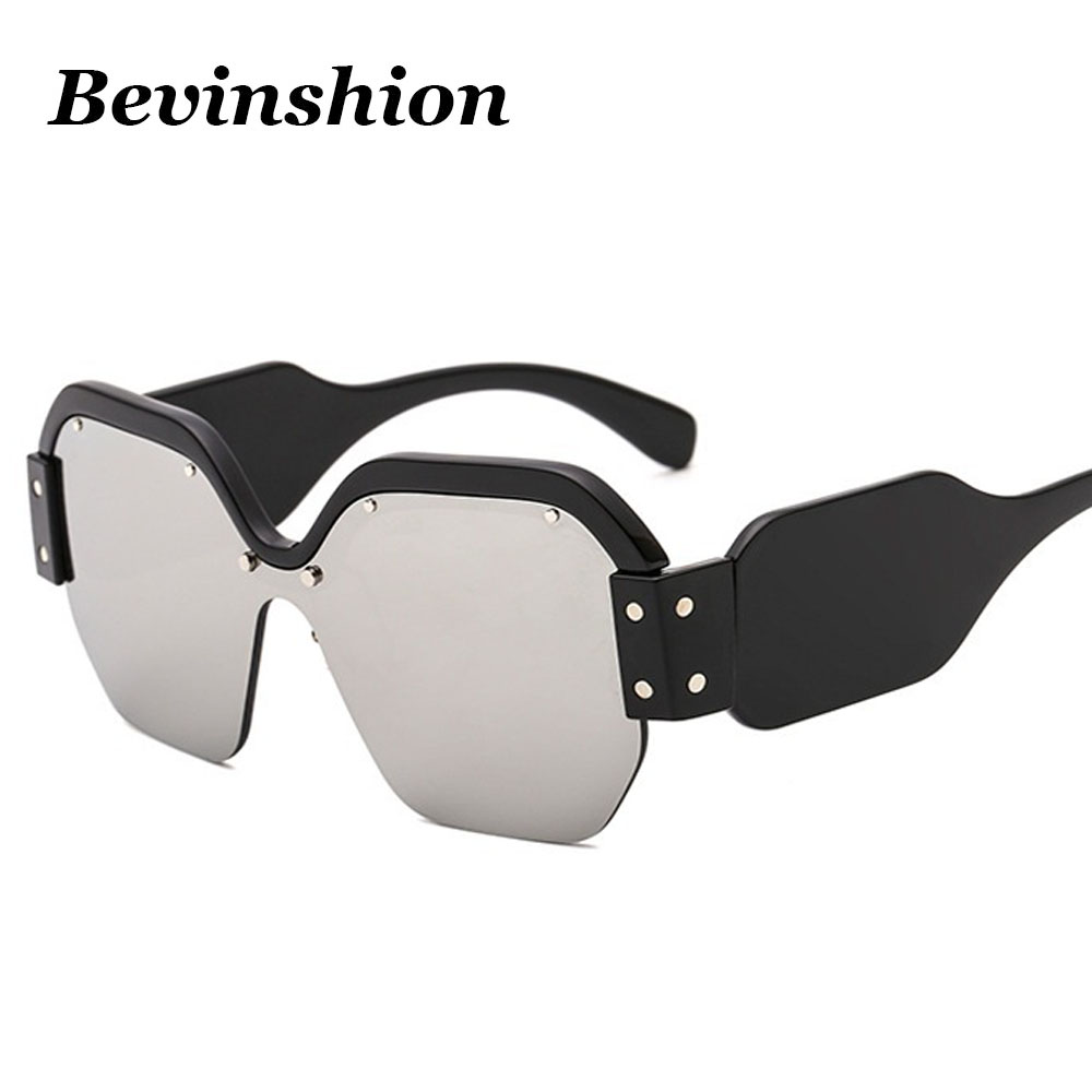 Brand One Piece Big Frame Rivet Square Sunglasses Women Shades Driver Goggles Designed Red Blue Lens Windproof Hd Wide Legs Sexy Women's Sunglasses Back To Search Resultsapparel Accessories