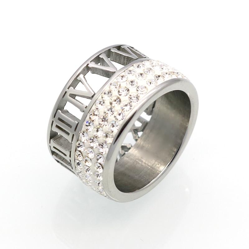 Kristalni prstenovi od 12 mm širine 3 reda za žene anel Moda izdubi - Modni nakit - Foto 2