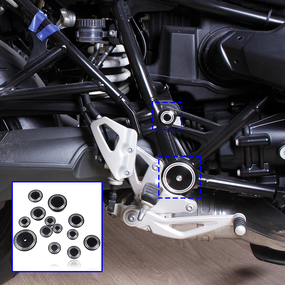 Motorcycle Aluminum Frame Hole Flug Cap Cover Set for 2014-2016 BMW R Nine T R9T 2015 rsd motorcycle 5 hole beveled derby cover aluminum for harley touring flh t 2016 2017 for flhtcul and flhtkl 2015 2016 2017