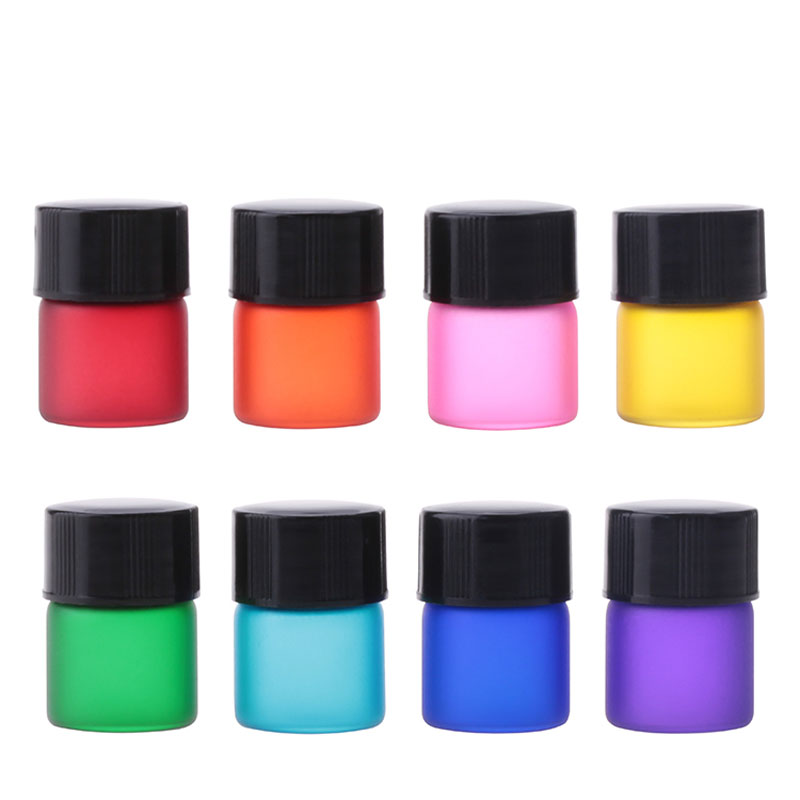 1ml 10pcs Mini Colored Perfume Glass Bottles With Orifice Reducer Black Cap Small Essential Oils Vial Perfume Display Container