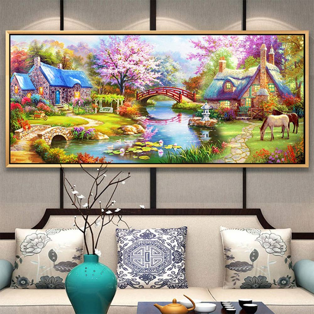 pastoral scenic Diamond Painting Full Round Rural New DIY Sticking Drill Cross Embroidery 5D simple Home Decoration in Diamond Painting Cross Stitch from Home Garden