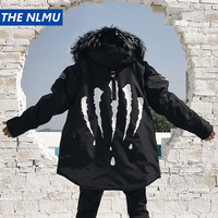 Black Winter Thick Jacket Parkas Men Hooded Fur Collar Coats Parka Streetwear Mens Medium Long Warm Windbreaker Coats WJ090
