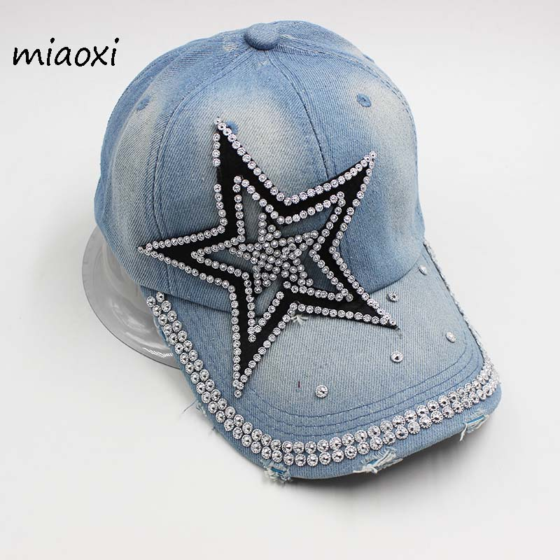 miaoxi Best Sell Women Adult Fashion Baseball Cap Denim Star Hat For Lady Summer Sun Hats Rhinestone caps Snapback Women's Hat lady s skullies womail delicate pregnant mothers soft velvet cap maternal prevention wind hat w7