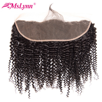 Mslynn Brazilian Kinky Curly Lace Frontal Closure With Baby Hair Free Part 13 4 Ear To