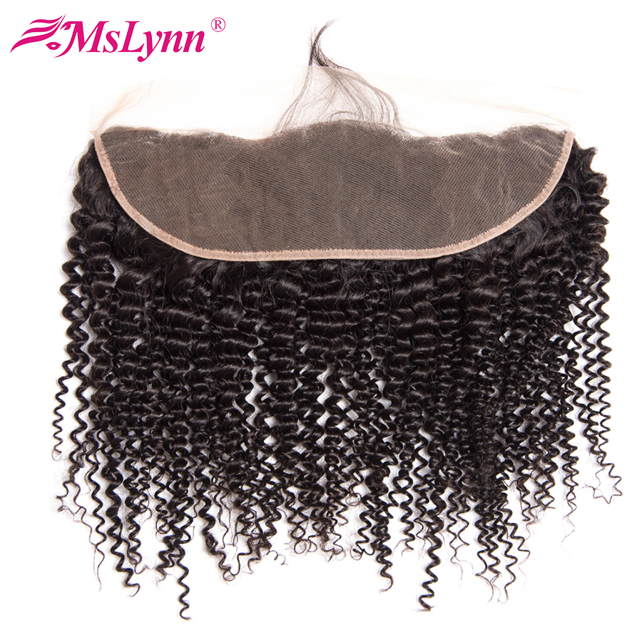 Mslynn 13*4 Ear To Ear Lace Frontal Closure Brazilian Kinky Curly Hair Non-Remy Human Hair Closure Can Be Dyed