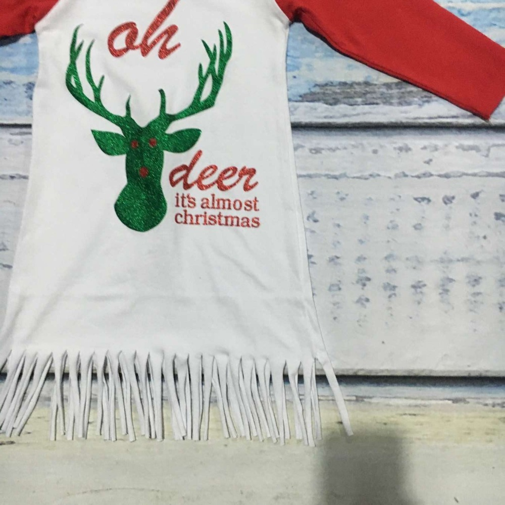 kids Christmas dress girls party dress oh deer it\'s almost Christmas ...