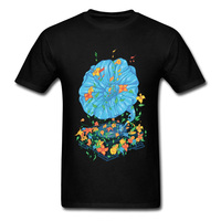 Model T Shirt Mens Retro Floral Music Player Tshirt Men T Shirts Music Notes Dance Club