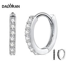 DALARAN Silver Circle Earrings 100% 925 Sterling Prevent Allergy Dazzling CZ Round Korean Style For Women Jewelry Gift
