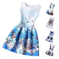 6 20Yrs Girls Causal Dresses Children Summer Flowers Princess Dresses For Wedding Party Print Flowers Dress