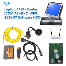 2016 selling OBD2 diagnostic tool ICOM A2+B+C with CF30 and 201607 software HDD full set of WIFI to send the router to for BMW(China (Mainland))