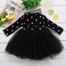 Платье принцессы с длинными рукавами для маленьких девочек Одежда для новорожденных девочек бальное платье-пачка в горошек с бантом, вечерние платья Одежда для маленьких девочек