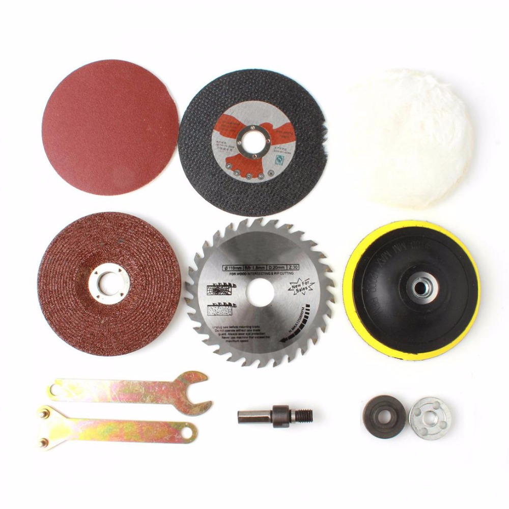 8 unids / lote Kit de conversión de metal vástago accesorios de carpintería para herramientas de función taladro eléctrico cambio a cortador de amoladora angular