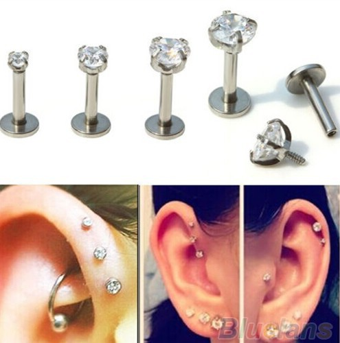 Gold Silver Rose Labret Lip Ring Zircon Anodized Titnium Internally Threaded CZ Gem Monroe 16G Tragus