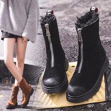 Botas cortas mujer plataforma 2019 señora invierno Martin botas medio-tubo cálido piel zapatos elegante al aire libre esquí bajo tacón Botas de gamuza