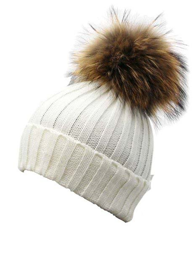 Detachable Large Real Raccoon Fur Pom Pom Knit Beanie Hat-in Skullies    Beanies from Apparel Accessories on Aliexpress.com  7a54406dd8e