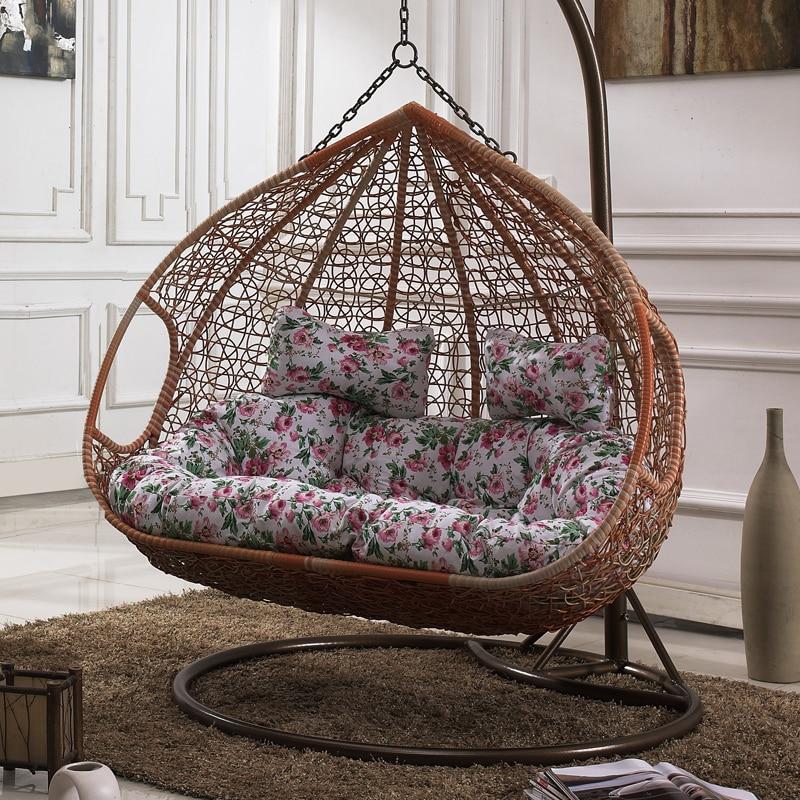 hanging basket chair wicker swing cradle rocking indoor outdoor balcony single double rattan. Black Bedroom Furniture Sets. Home Design Ideas