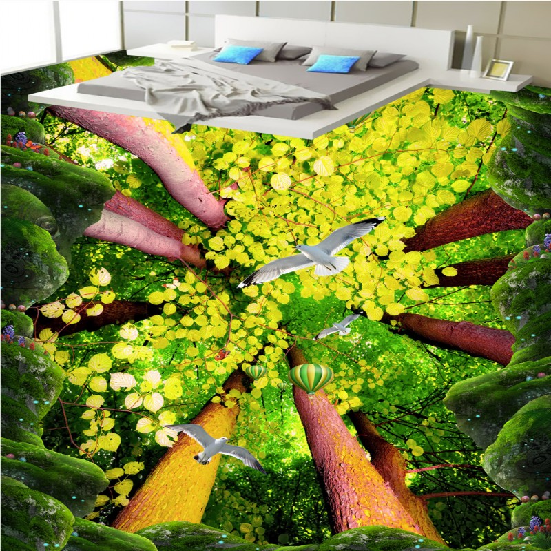 Free shipping flooring Cliff forest bathroom kitchen walkway 3d flooring custom living room self-adhesive photo wallpaper cliff нк 302 40