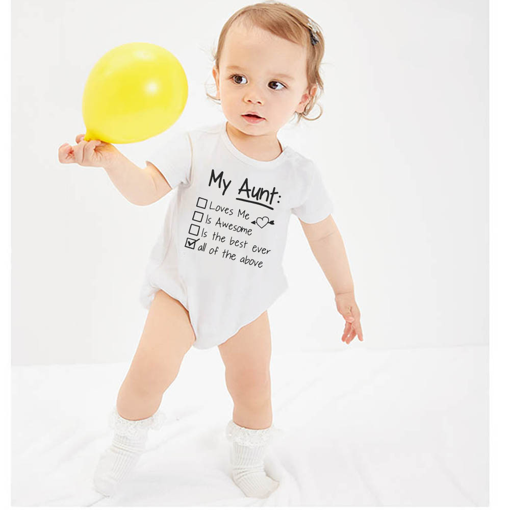 My aunt loves me and awesome Baby   Rompers   Baby Boy girl Clothes Roupas Bebe Infant Baby Jumpsuits Newborn Clothes Baby Boy 0-24M