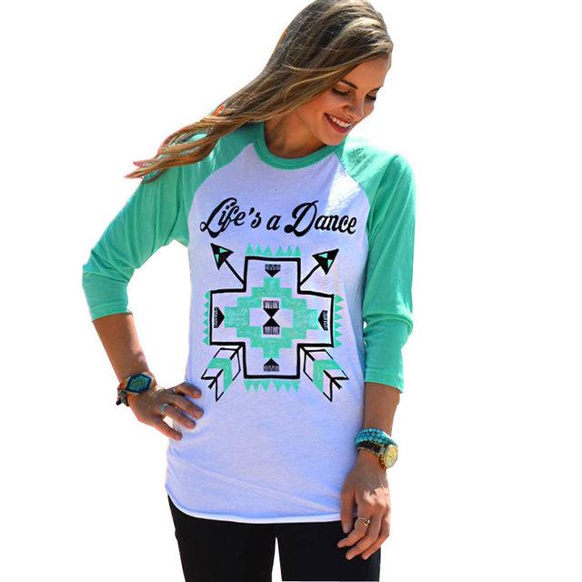 Moda mujer camiseta de béisbol o cuello estilo shirt tops feminina 3/4 t-shirt de la ropa de china