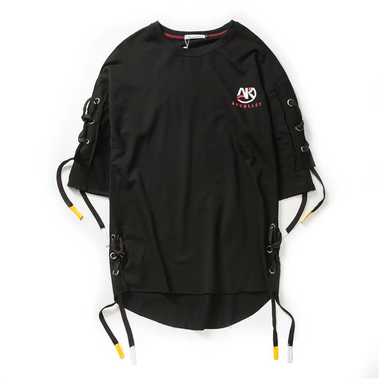 ABOORUN Men's Hip Hop T-shirt Rule Ribbons Decoration Printed Tees High Street Original Loose Short Sleeve Shirts for Male R149 35