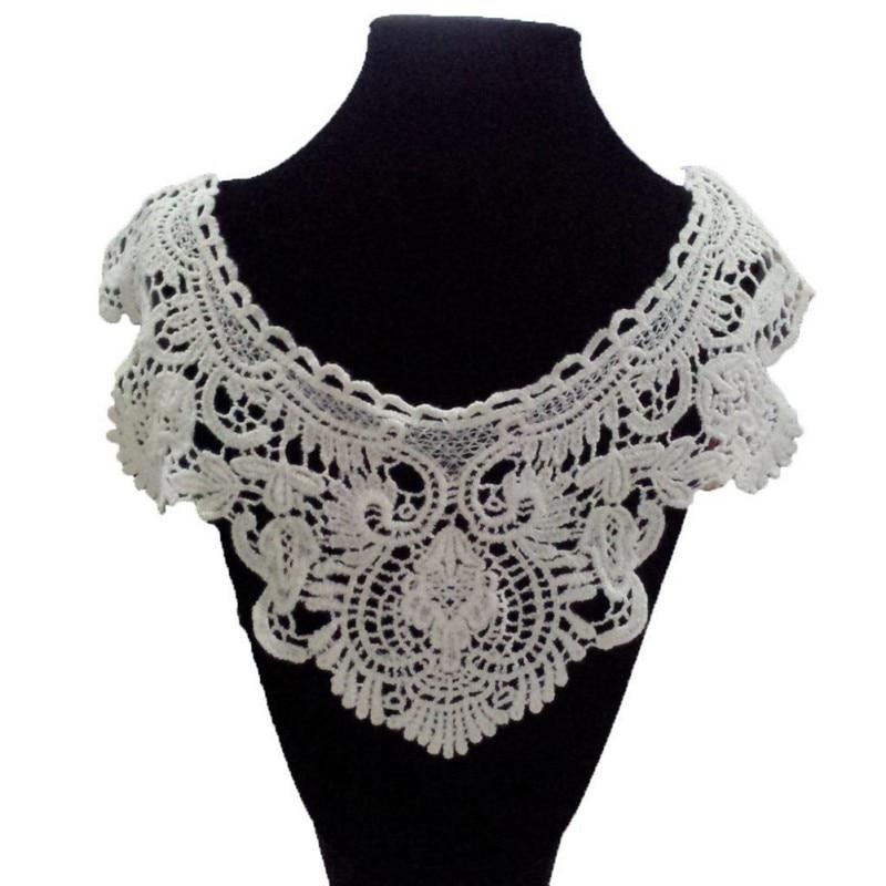 Women Vintage Flower Embroidered Collar Crochet Neckline Lace Collar