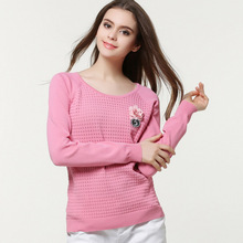 The new spring and summer 2016 ladies sweater women red corsage simple striped turtleneck sweater big