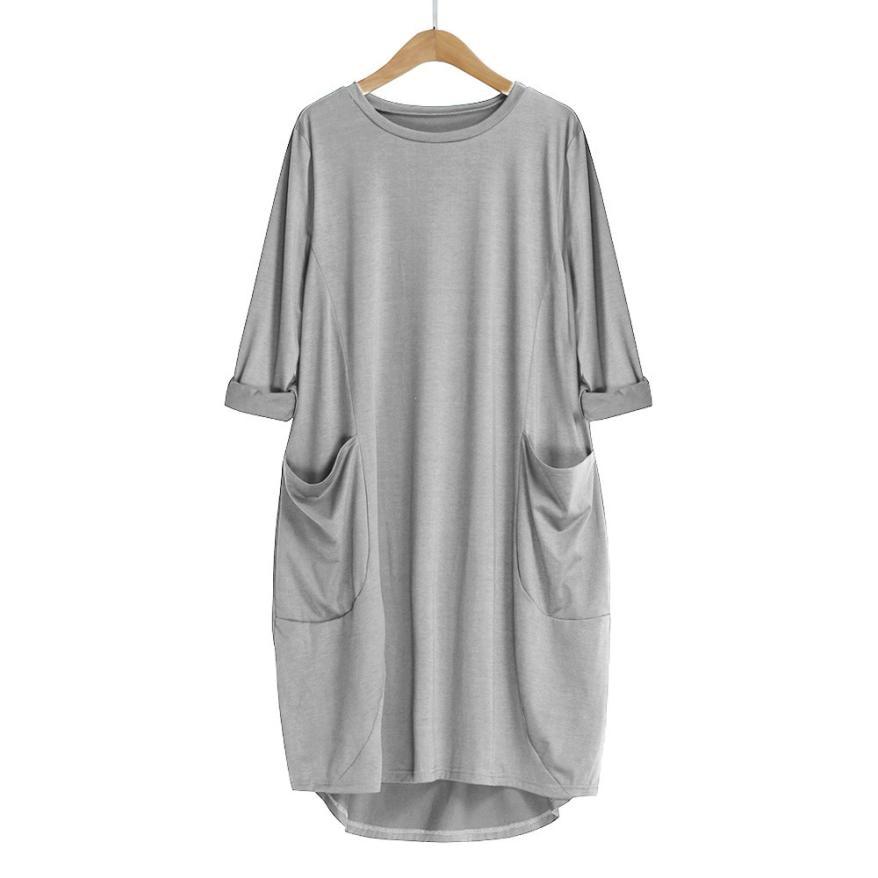 HTB1zzncBLiSBuNkSnhJq6zDcpXaP Women's Fashion Dress Womens Pocket Loose Dress Ladies Crew Neck Casual Long Tops Dresses Plus Size augu10