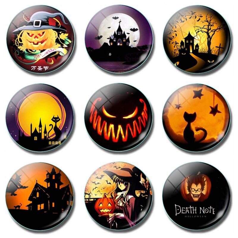 Cartoon Pumpkin Lantern Halloween 30 MM Fridge Magnet Death Note Horror Kids Castle Glass Magnetic Refrigerator Stickers Holder