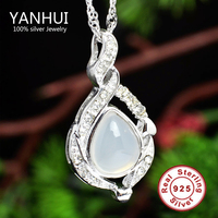 Have Certificate Real Natural Chalcedony Agate Jade Pendant Necklace For Women Solid 925 Silver Crystal Fashion