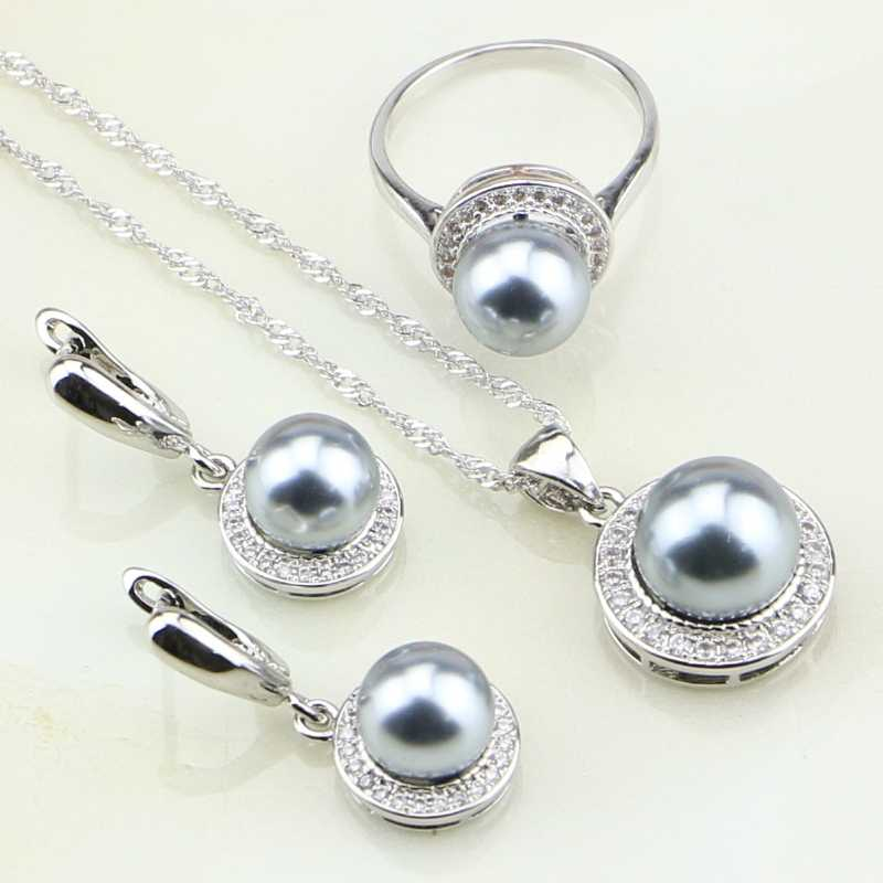 925 Sterling Silver Jewelry White Cubic Zirconia Round Gray Imitation Pearl Jewelry Set For Women Earrings/Ring/Pendant/Necklace