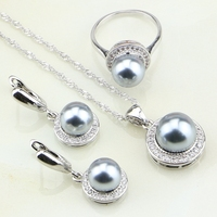 925 Sterling Silver Jewelry White Cubic Zirconia Round Gray Imitation Pearl Jewelry Set For Women Earrings