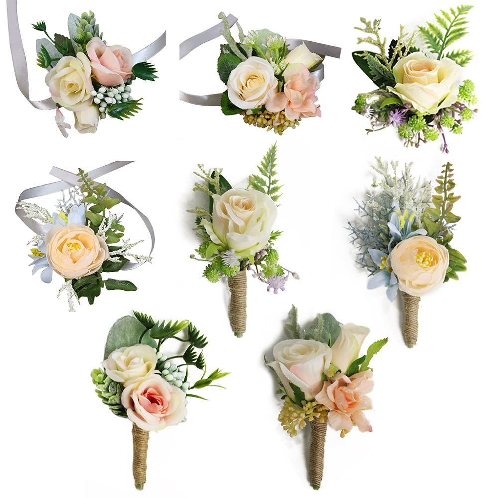 Wedding Party Favors Wrist Corsage Boutonniere Artificial Champagne Rose Flower Brooch Bouquet Groom Bride Bridesmaid Wristband