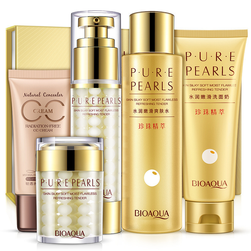 BIOAQUA Pure Pearl Smoothing Gift Set Skin Care Nourish Anti-aging Anti-wrinkle Cleanser, Toner, Lotion, Essence Cream, CC Cream argireline matrixyl 3000 peptide cream hyaluronic acid ha wrinkle collagen firm anti aging skin care equipment free shipping