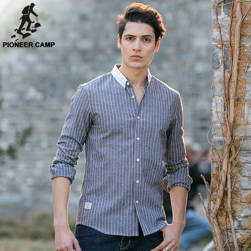 Pioneer camp new fashion mens shirts long sleeve casual for New look mens shirts