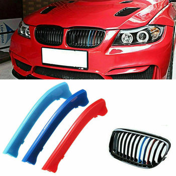 E91 Color Bars Grille E90 M Stripe CAR 3 Cover Decor Series 12 For Kidney BMW For BMW 3 Series E90 E91 LCI 2009-2012 image