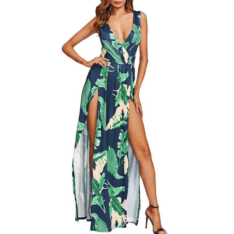 Floral Print Maxi Dress 2018 Summer Women V-neck Tropical Print Split  Sleeveless Long Dresses 9e9a3da7b645