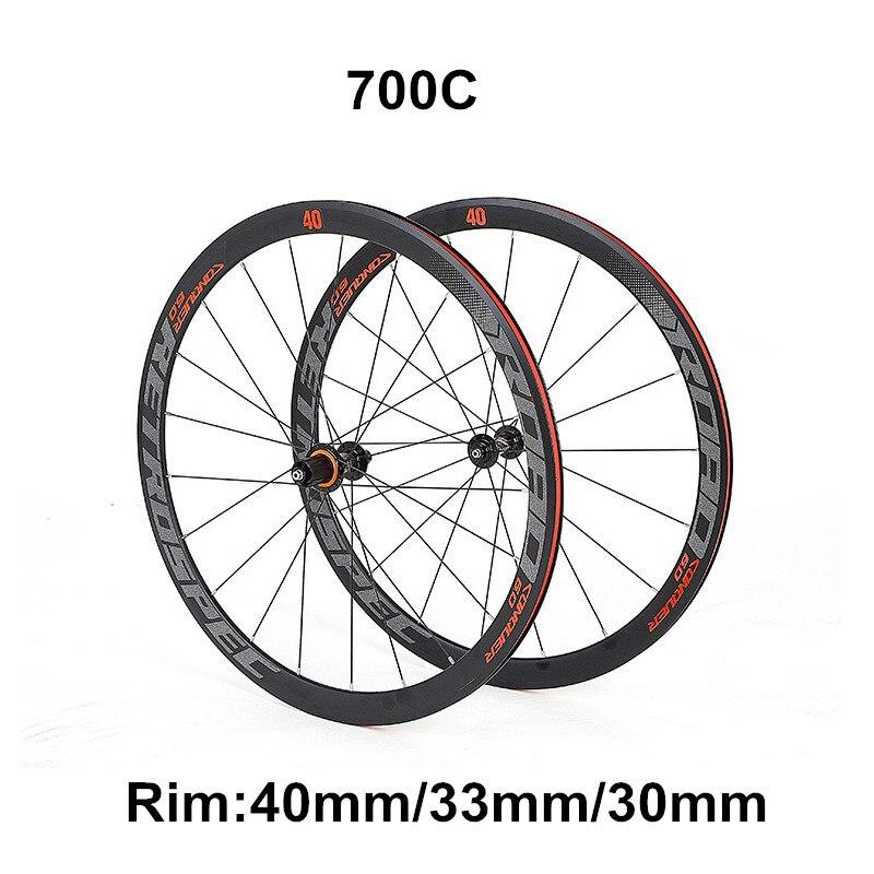 Jante en alliage d'aluminium de route 4 roulements scellés 700C roue de route 40/33/30mm paire de roues de vélo coloré décalque standard vélo vélo rouler