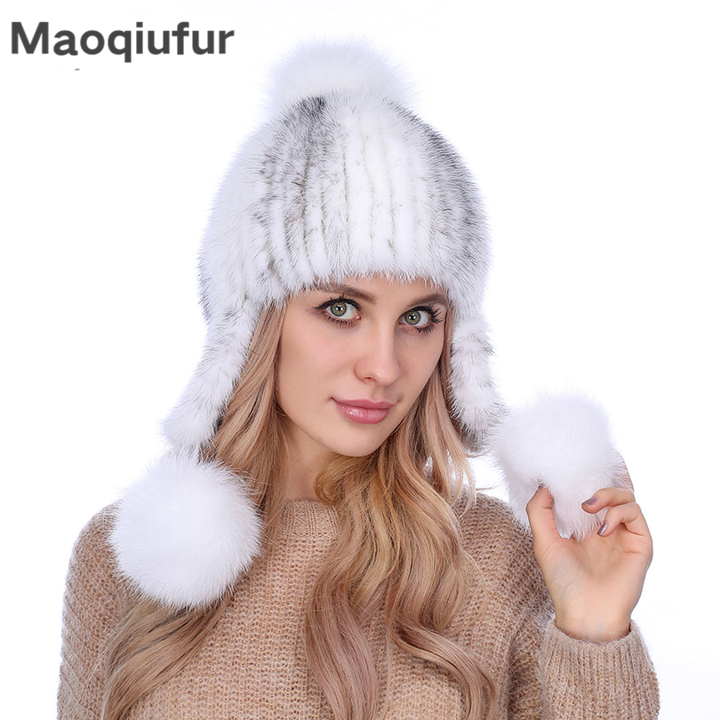 Winter Fashion Womens Fur Caps Natural Knitted Genuine Mink Fur Hats with fox fur pom poms Warm Winter Beanies Female
