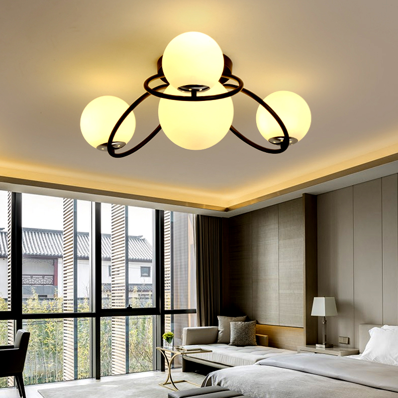 LED modern Simple Nordic living room light restaurant lamps bedroom Ceiling lighting Iron Crafts Glass Ceiling Lights kids room led lamps ceiling with compass for girl or boy bedroom light simple modern nordic restaurant lighting lustre