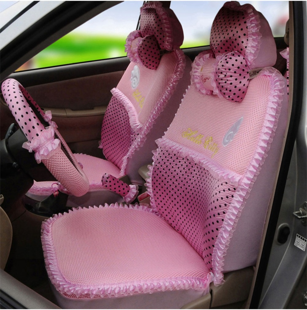 Hello Kitty 18pcs Elegant Angle Automotive Car Seat Cover Ice Silk Interior Steering Wheel Neck Pillows In Automobiles Covers From