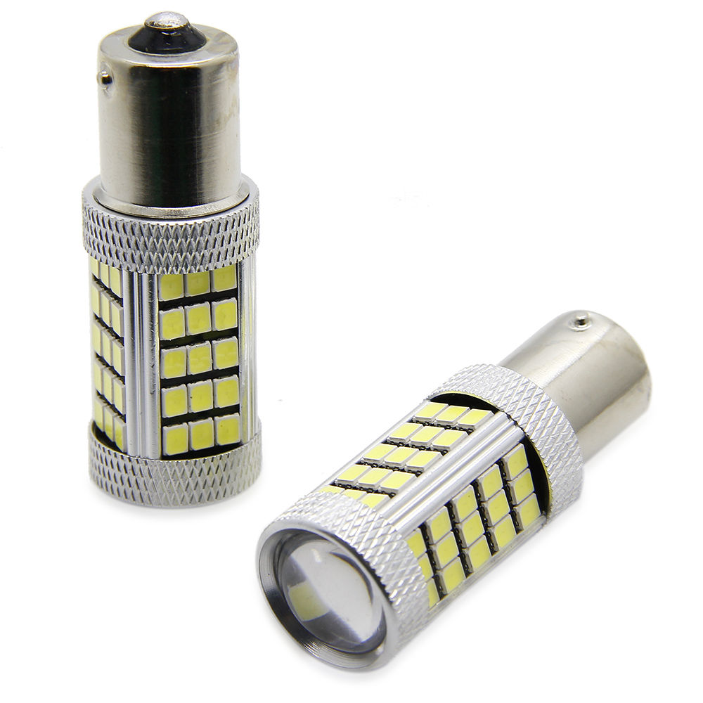 2Pcs 12V 24V 1156 BA15S 2835 63 SMD LED Car Bulbs Turn Signal Light High Lumens